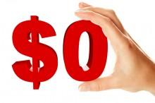 Zero dollar sign holding by female hand