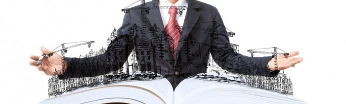 man and open book with building construction on white
