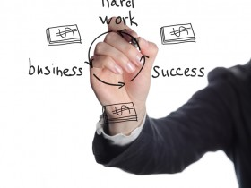 businesswoman showing business success structure