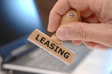 rubber stamp marked with leasing