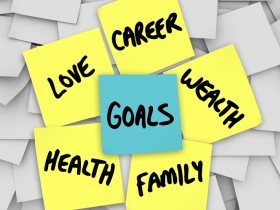 Goals on Sticky Notes Health Wealth Career Love