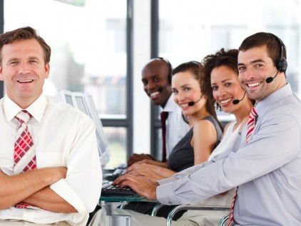 Business team working in a call center