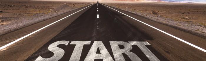 Start written on desert road