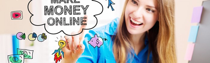 Make Money Online concept with young woman